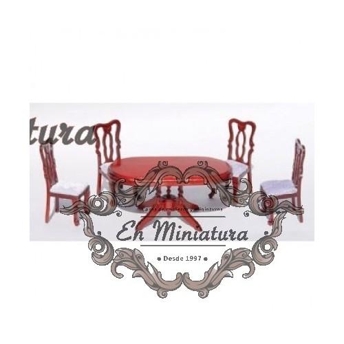 Conjunto de mesa y cuatro sillas