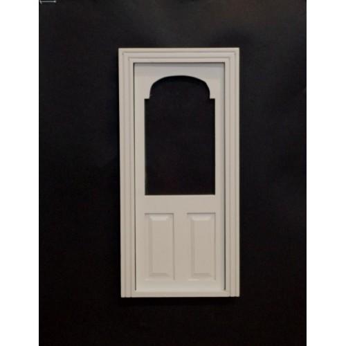 Puerta cristal con arco blanca