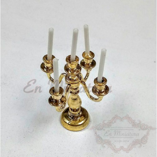 Candelabrum five arms golden
