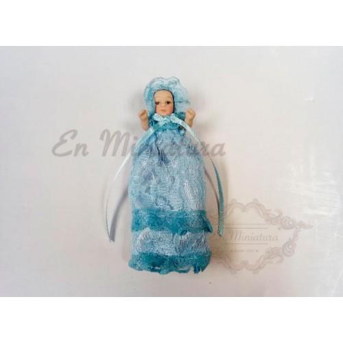 Bebé con faldón Azul