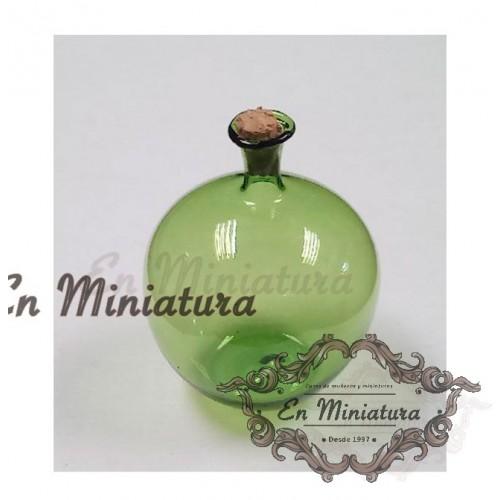 Garrafa de cristal verde o Damajuana