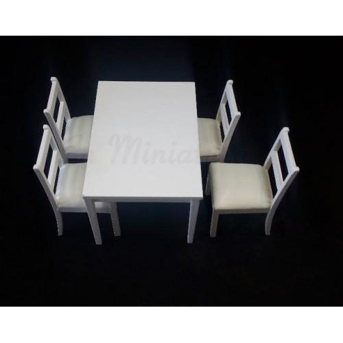 Conjunto Mesa y cuatro sillas moderno