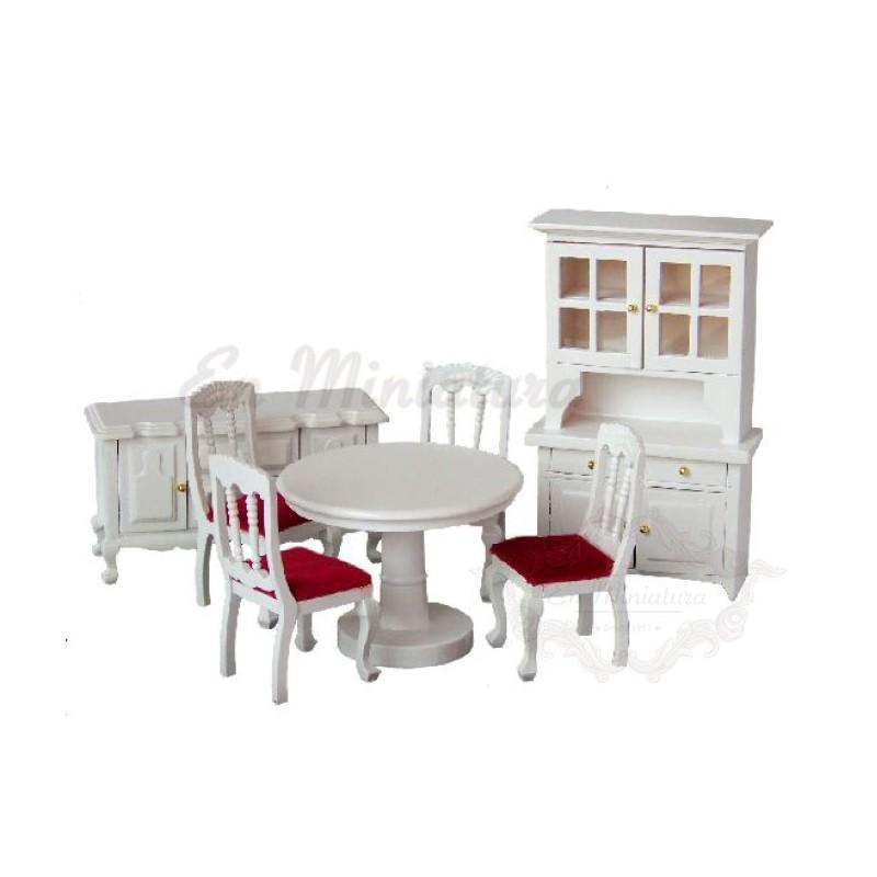 Conjunto comedor para casas de muñecas en blanco, muebles casas de muñecas