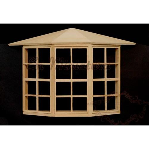 lookout window, unpainted wood