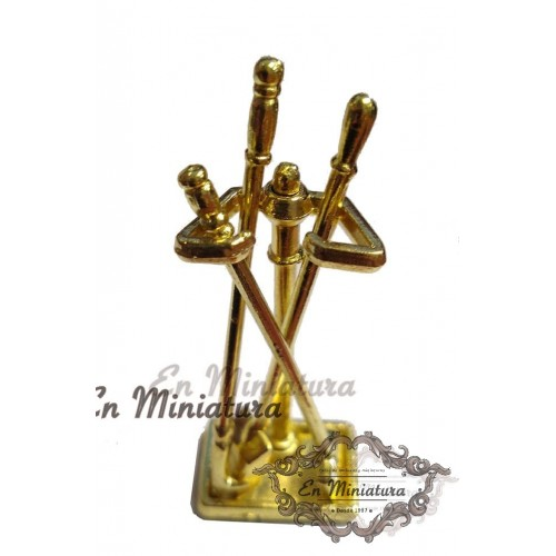 Gold-plated fireplace utensils