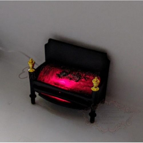 Support with embers for fireplace with fire light