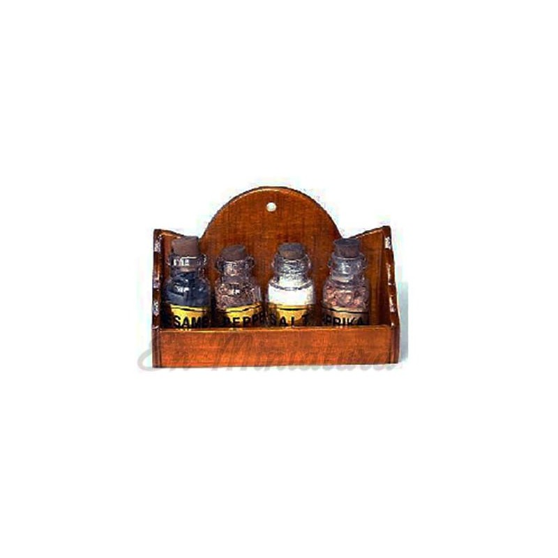 Shelf with glass jars with spices