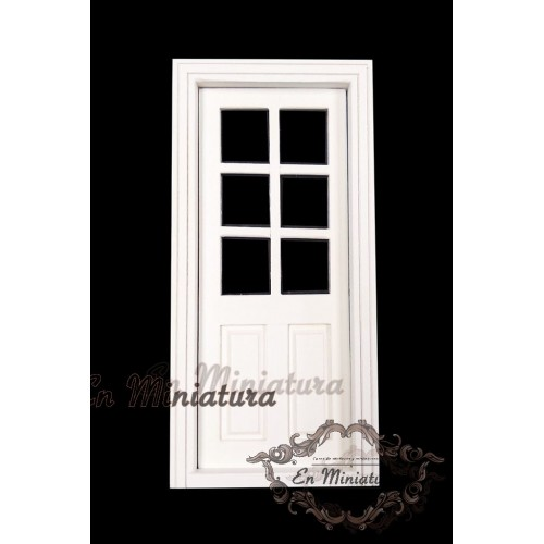 White door with glass pictures