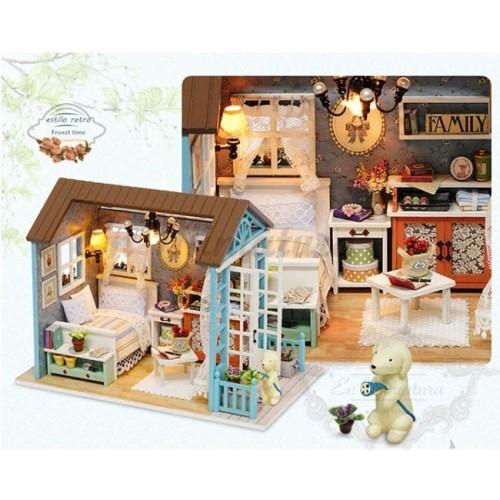 Casa de muñecas completa para montar, Con luz incluida