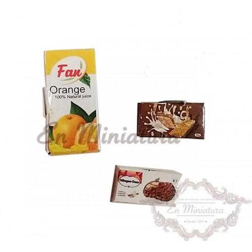 Cajas de Zumo y galletas
