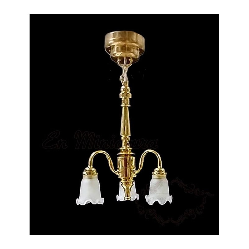 Ceiling lamp, golden with three globes.
