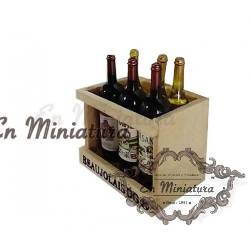 Bottle rack with wine bottles