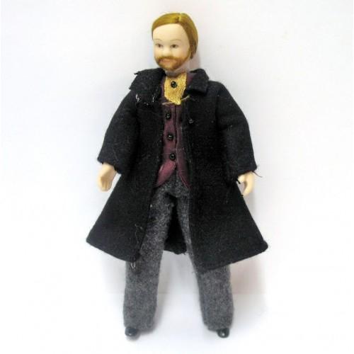 Muñeco abrigo negro de porcelana para decorar escenas
