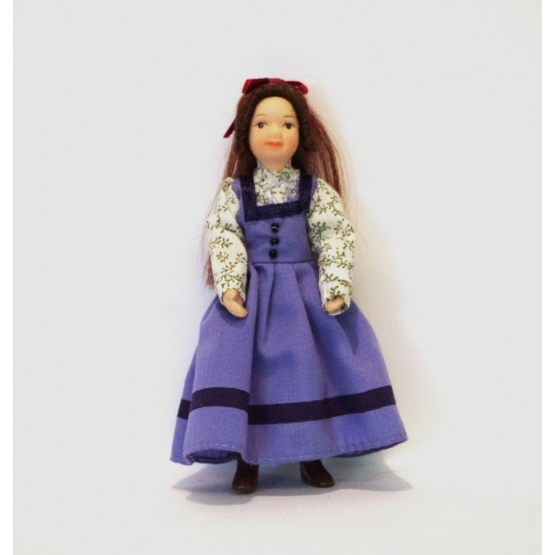Muñeca vestido azul, decoración de casitas