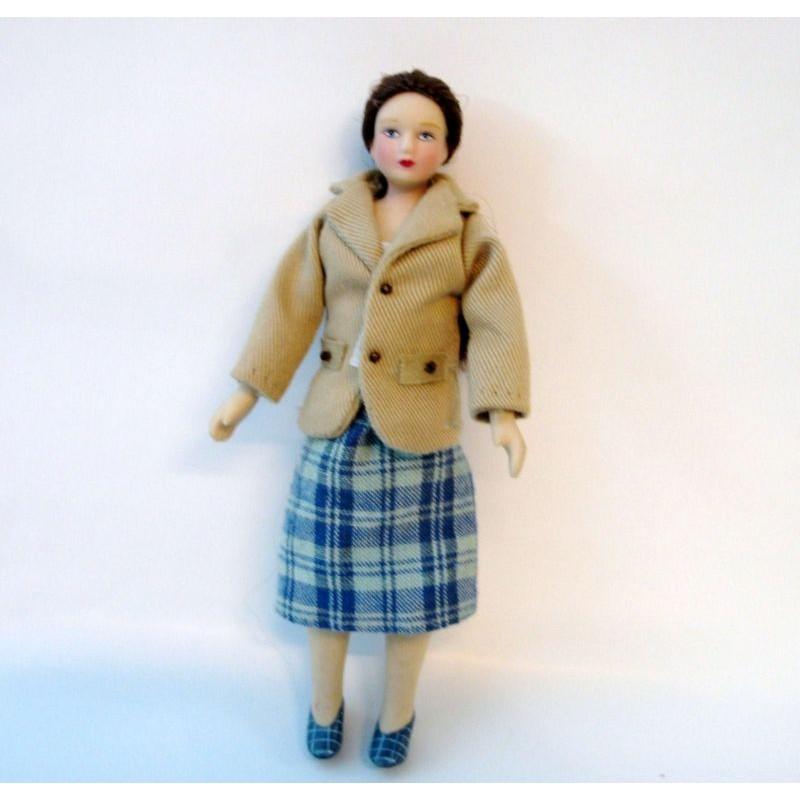 Muñeca chaqueta beig personajes casas de muñecas