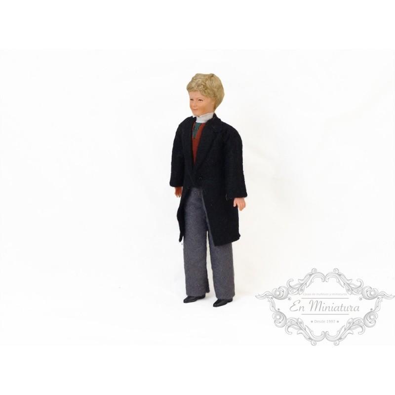 Muñeco con abrigo negro de calidad