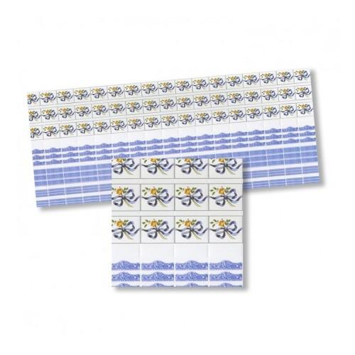 Cenefa azulejo azul con lazos