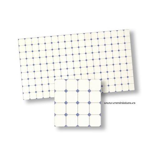 Azulejos blanco con cuña azul