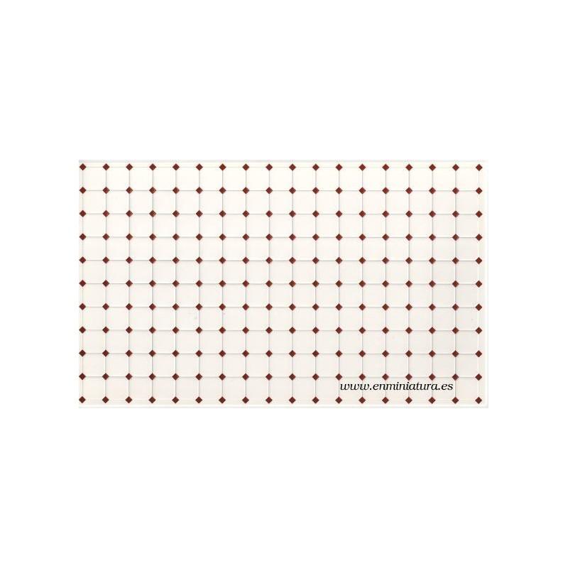 Azulejos blanco con cuña roja