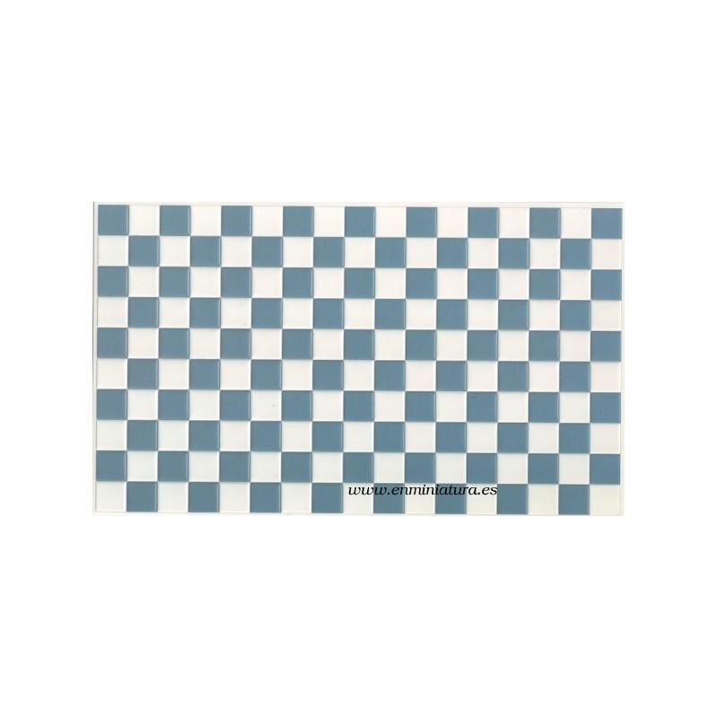 Azulejos azul y blanco suelos de cocinas en miniatura