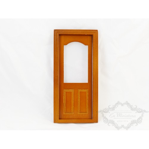 Puerta roble cristal redondo