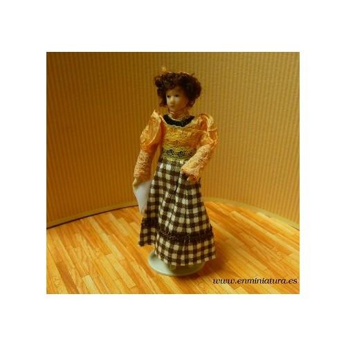 Muñeca falda cuadros de porcelana