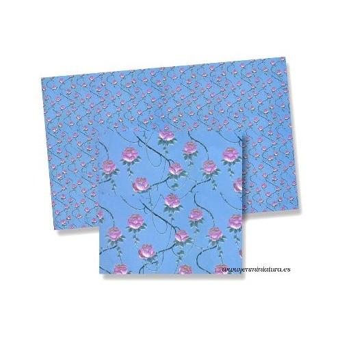Papel azul con rosas