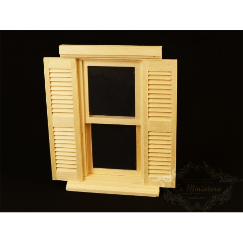 Window with unpainted wood shutter