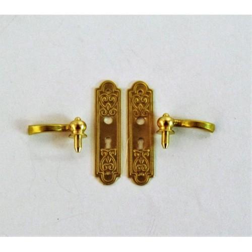 Door handle with lock gold