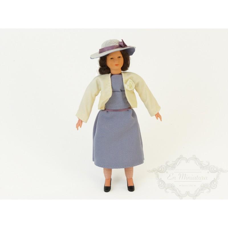 Muñeca sombrero azul de casas de muñecas