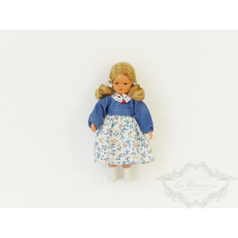 Niña vestido flores, muñeca alemana en miniatura