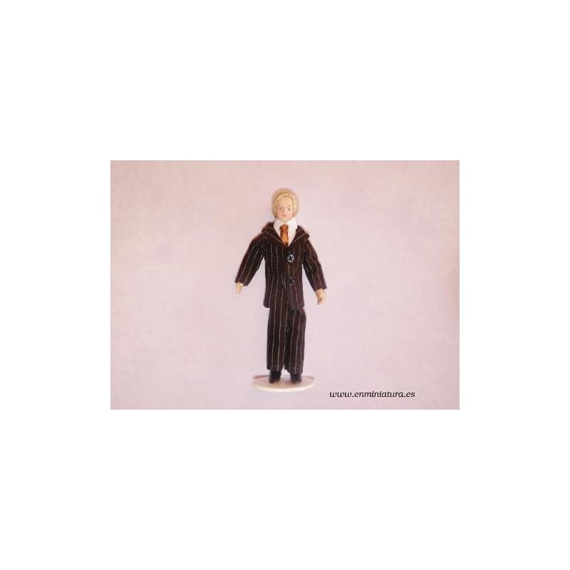 Muñeco traje de rayas, personaje en miniatura