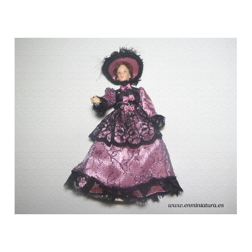 Muñeca victoriana malva para escenas de casitas