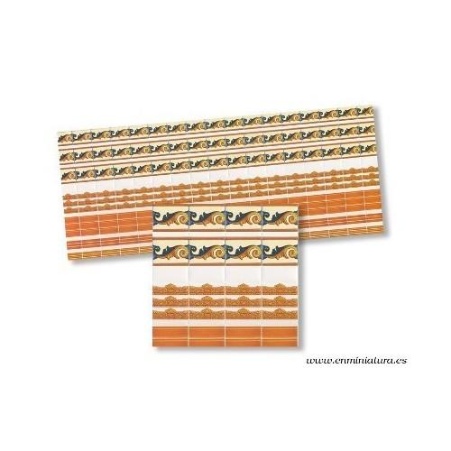 Cenefa azulejo, colores teja