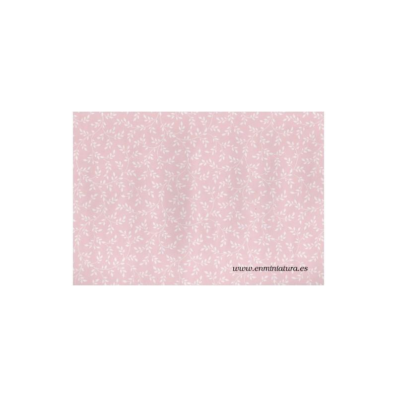 Papel rosa con flores blancas